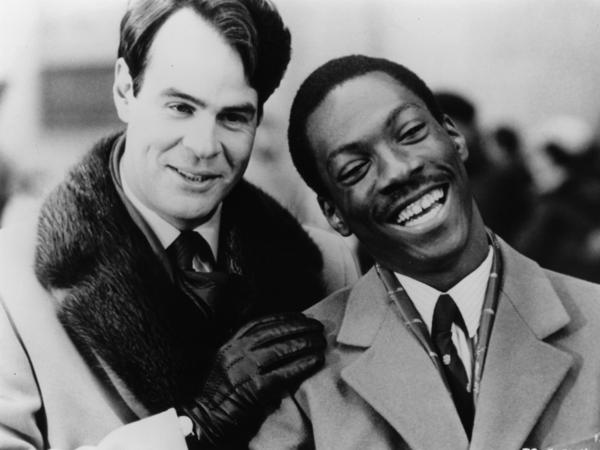 Dan Aykroyd and Eddie Murphy on the set of Trading Places.