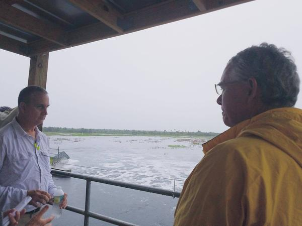 During Tropical Storm Emily, U.S. Rep. Mario Diaz-Balart (R-FL) and U.S. Rep. Francis Rooney (R-FL) visit the Merritt Pump Station at the Picayune Strand--the western part of the Everglades--to talk about Everglades restoration and funding.