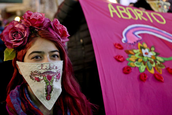 "During a march last month in favor of President Michelle Bachelet's bill, a demonstrator displays a handkerchief with an embroidered image of a uterus and the word ""free"" in Spanish."