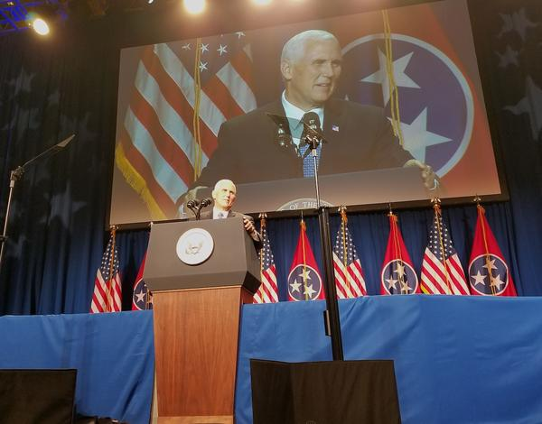 Vice President Mike Pence delivers the keynote address at the annual Statesmen's Dinner.
