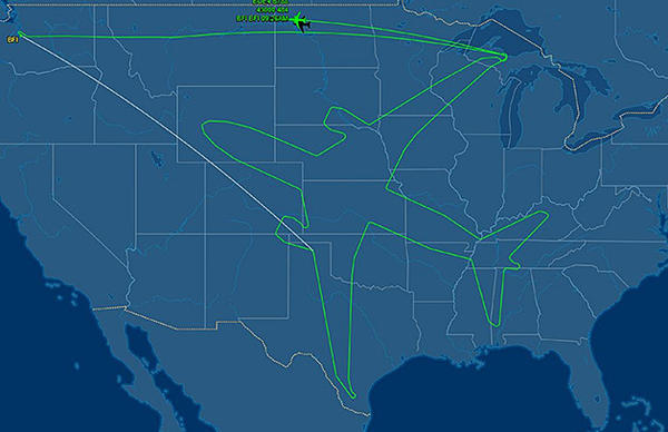 The flight path of a Boeing 787-8 that traced out an image of the aircraft.