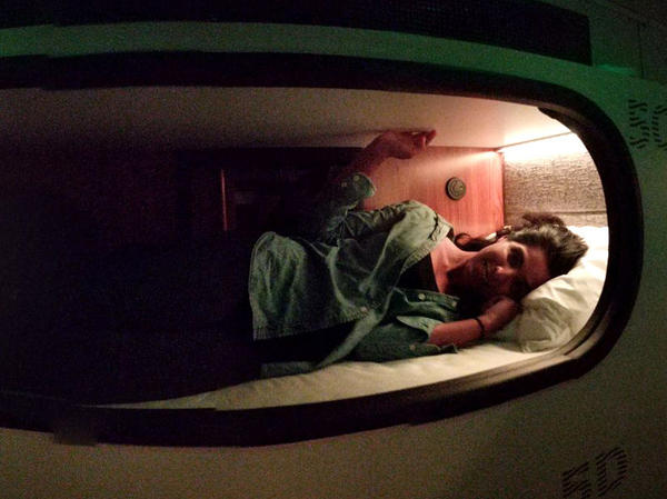 NPR's Aarti Shahani tries one of the sleeping pods aboard a Cabin bus traveling from Santa Monica, Calif., to San Francisco.