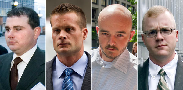 This composite photo shows former Blackwater guards Dustin Heard (from left), Evan Liberty, Nicholas Slatten and Paul Slough. A federal appeals court has thrown out a murder conviction against Slatten and ordered resentencing of the other three men.