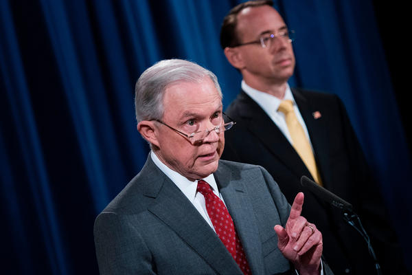 Attorney General Jeff Sessions speaks at the Department of Justice during an announcement about leaks of classified information Friday.