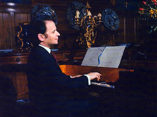 Byron Janis, photographed in 1968 at the Chateau Thoiry, where he discovered two rare Chopin manuscripts, one of which sits on the antique piano.