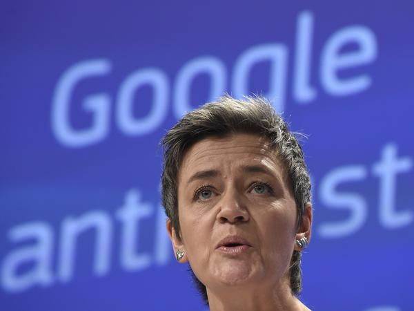 European competition commissioner Margrethe Vestager announces antitrust charges against Google in 2015.