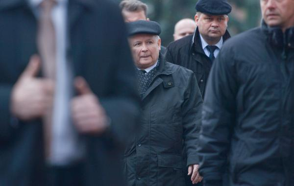 Jaroslaw Kaczynski, leader of the ruling Law and Justice party, arrives for a Mass in Krakow in April, marking the seventh anniversary of the death of his twin brother, President Lech Kaczynski.