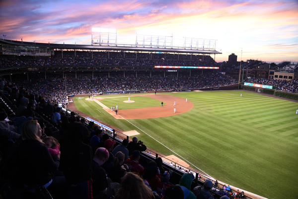 The Chicago Cubs and the Cleveland Indians play on June 16, 2015, at Wrigley Field in Chicago.
