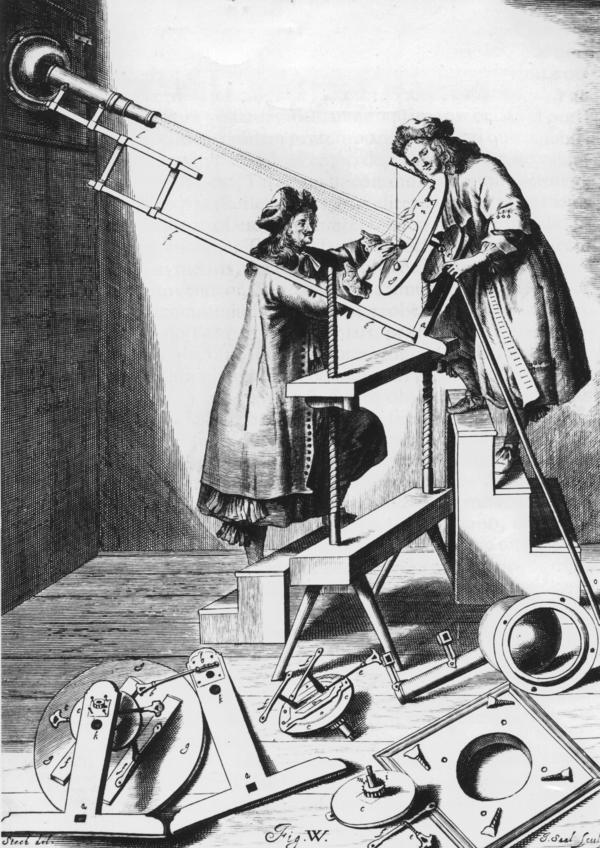 Johannes Hevelius (left) and an assistant observe a partial solar eclipse in 1673.