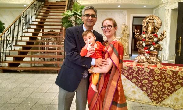 The author, Anne Noyes Saini, with her husband, Sajan Saini, and son Dev.