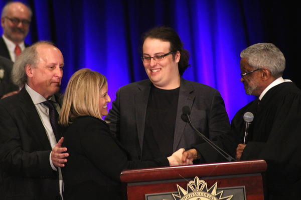 "Mayor Megan Barry shakes hands with Judge Richard Dinkins at her inauguration in 2015. Her son, Max Barry (center), died last month of a drug overdose, his parents said. Mayor Barry intends to use her platform to ""inspire and encourage other parents out there."""