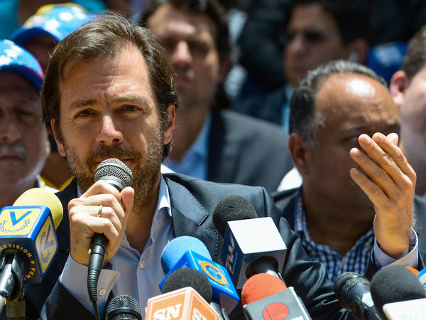 Ramon Muchacho, mayor of Chacao, speaks at a news conference in May. Muchacho was removed from his position Tuesday and sentenced to 15 months in prison by Venezuela's Supreme Court.
