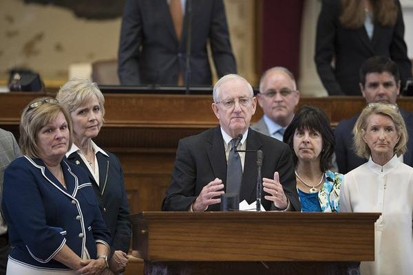 State Rep. John Smithee at the front mike with supporters talking on House Bill 214, which would limit health benefit coverage for elective abortions, on August 8, 2017.