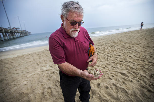 Orrin Pilkey, of Duke University, examines the health of a handful of sand on Nags Head Beach. (Jesse Costa/WBUR)