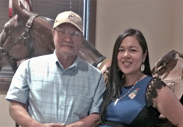 Emily Washines and Steve Plucker pose at Fort Walla Walla Museum after a ''Yakama War: Ayat'' film screening.