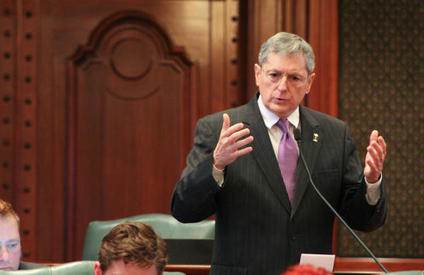 Rep. David Harris, R-Arlington Heights, explained why he was voting to override Gov. Bruce Rauner's budget veto.