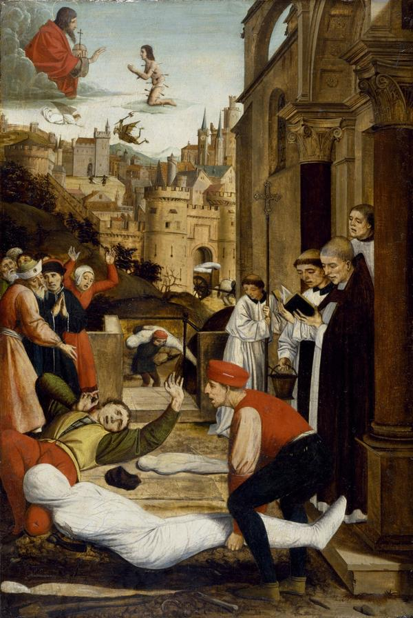 In this painting by French artist Josse Lieferinxe at the end of the 15th century, St. Sebastian, one of the saints whom people prayed to for protection against the plague, kneels before God while a grave attendant is stricken with the plague as he is burying someone who died of the disease. He has a single bubo on his bent neck.