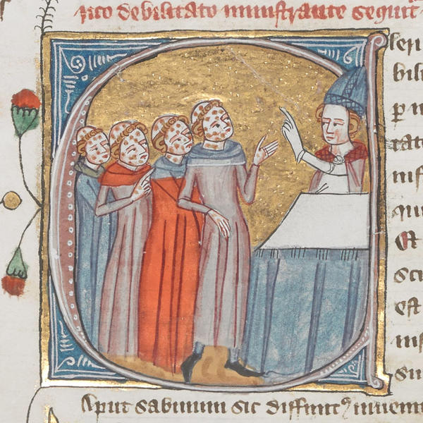 This image in a 14th-century encyclopedia called the <em>Omne Bonum</em> shows a priest giving instructions to people with leprosy. The British Library mislabeled the image as depicting people with the plague.