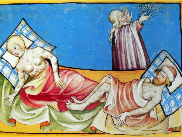 Not long ago, NPR published what we described as a 15th-century Bible depiction of a couple suffering from the blisters of bubonic plague. A reader pointed out that it was actually a depiction of people suffering from the sixth biblical plague.