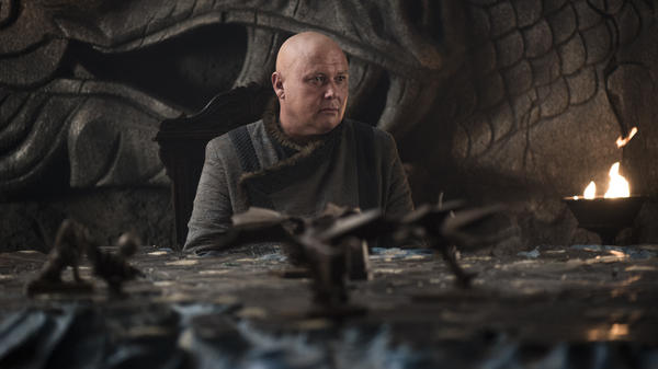 "In the Season 7 episode ""Eastwatch,"" Varys (Conleth Hill) surveys the war map at Dragonstone, worried that a phalanx is about to get cut off."