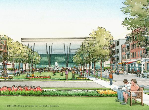 A mock-up of the proposed downtown development project for Troy by Gibbs Planning Group.