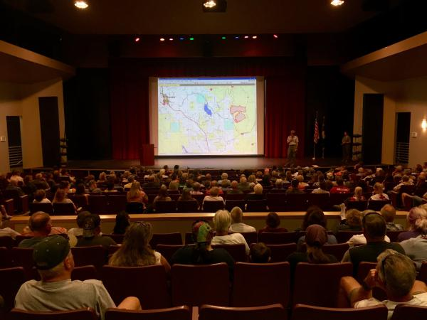 About 300 people came to the first public meeting about the Gibralter Ridge Fire at Eureka High School last night
