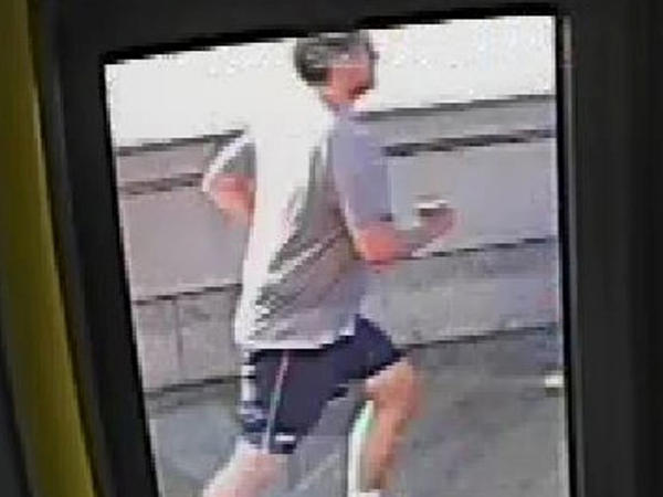 A CCTV image, received via the Metropolitan Police Service, shows a male jogger on Putney Bridge in London on May 5.