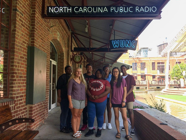 WUNC's 2017 Youth Radio Institute students, from left to right: Endia Purdie, Skylar Fisher, Emmanuel Tobe, Star Smith, Loulou Batta, Katherine Gan, and Anthony Howard
