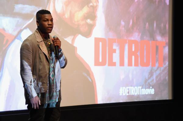 Actor John Boyega speaks onstage at the Detroit special screening at the Crosby Street Hotel on July 27, 2017 in New York City.