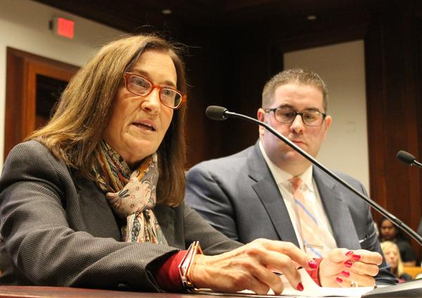 Mass. State Treasurer Deb Goldberg testifying before the legislature's Joint Committee on Marijuana Policy, on March 20, 2017.