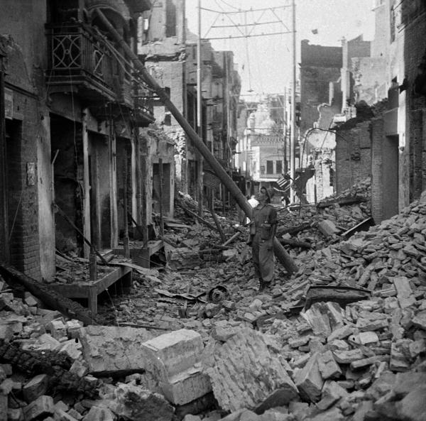 Religious rioting leaves a shopping district in shambles in Lahore in August 1947. Lahore, part of divided Punjab, ended up on the Pakistani side of the new border. Punjab saw some of the bloodiest violence of Partition.