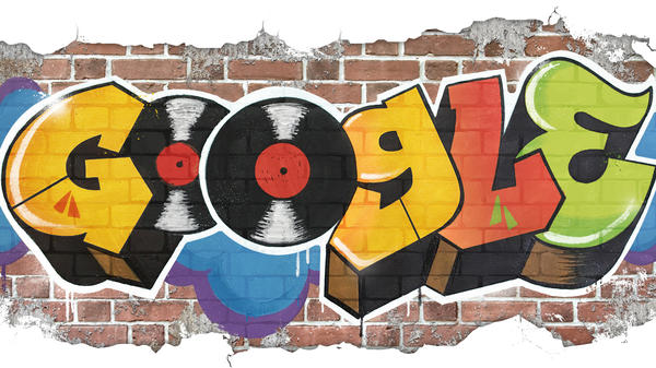 Google celebrates hip-hop's 44th anniversary with a graffiti Doodle designed by iconic visual artist Cey Adams.