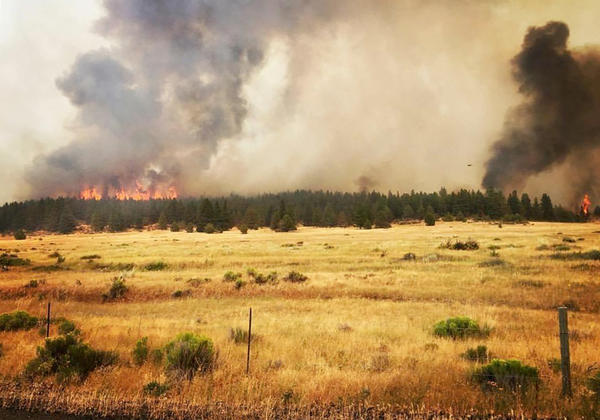 The Nena Springs fire started Tuesday on private property next to the Warm Springs Reservation in central Oregon.