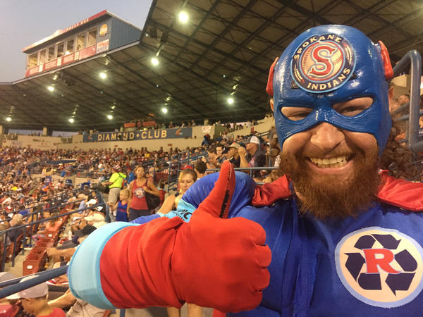 Recycle Man aims to use positiv reinforcement to encourage fans at Spokane Indians games to recycle.