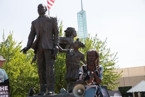 <p>Portland's NAACP President Jo Ann Hardesty in front of the Martin Luther King Jr. statue on Aug. 12, 2017. </p>