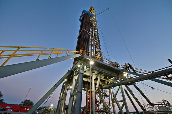 An oil and gas drilling rig in the Eagle Ford Shale formation in DeWitt County.