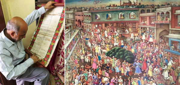 Khalid Changezi (left) studies a studies one of the scrolls documenting his family's longevity in India. The Changezi home is a treasure trove of family heirlooms, pictures, portfolios and documents from long before Partition. (Right) A print owned by the family depicts a festival celebrated in the Old City during the Mughal era.