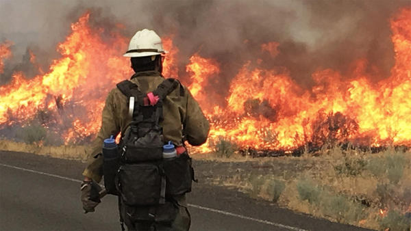 The Nena Springs fire is burning on the northeast border of the Warm Springs Indian Reservation near The Dalles, Oregon.