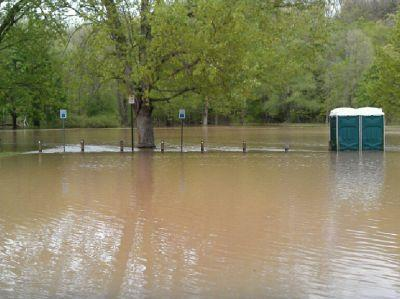 Spring flooding at a park