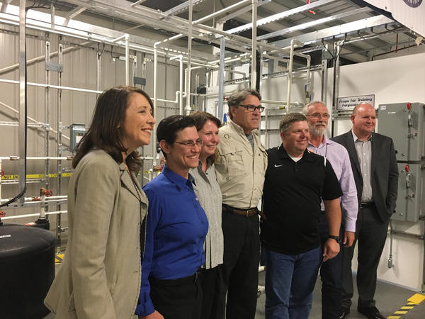 Sen. Maria Cantwell, D-Washington, far left, accompanied Secretary Perry for much of his tour of the Pacific Northwest National Laboratory and Hanford Site.