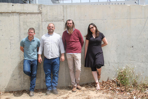 Israeli volunteers (left to right) Netanel Peled, Zohar Kaplan, Shivi Froman and Yotvat Fireizen-Weil with the group Just Beyond Our Borders have raised hundreds of thousands of dollars for aid to Syrian civilians.