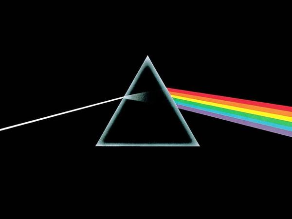 The legendary cover art for Pink Floyd's 1973 masterpiece <em>The Dark Side Of The Moon</em>.