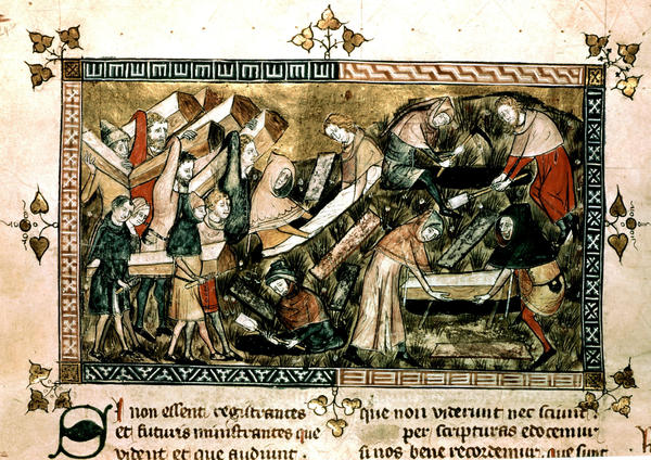 This is one of the earliest known images of the plague. Drawn in 1349, during the time of the Black Death, it shows people carrying coffins of those who died of the illness in Tournai, a city in what is now Belgium.