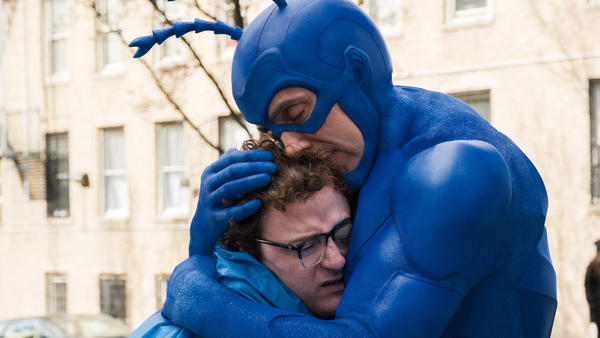 When The Tick (Peter Serafinowicz) attaches himself to Arthur (Griffin Newman), no tweezers in the world can separate them.