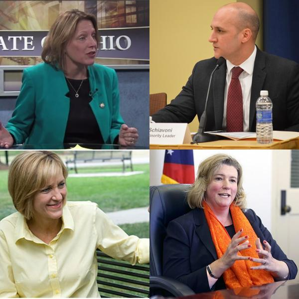 clockwise from top left) former Rep. Connie Pillich (D-Cincinnati), Sen. Joe Schiavoni (D-Boardman), former U.S. Rep. Betty Sutton, Dayton Mayor Nan Whaley; 2018 gubernatorial candidates