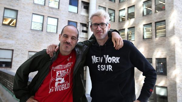 Stretch Armstrong (right) aka Adrian Bartos and Bobbito (left) aka Robert Garcia