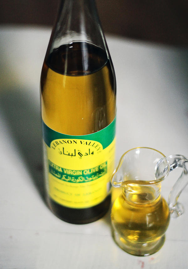 A sampling of one of the many Lebanese olive oils available in Dearborn, Mich., marketplaces.