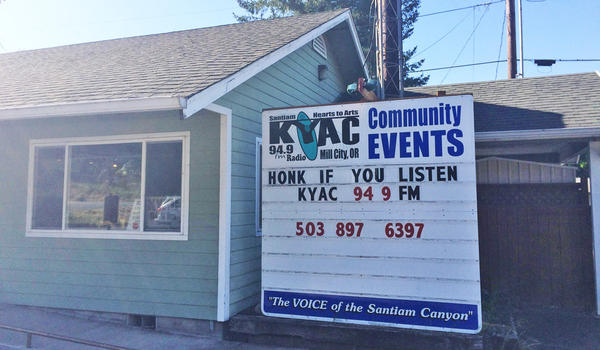 KYAC's studios are along Highway 22 in Mill City, Oregon.