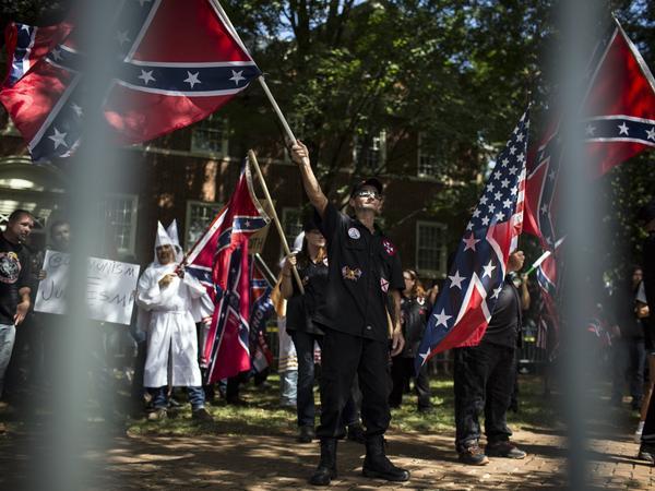 The Ku Klux Klan protests on July 8, 2017, in Charlottesville, Va.