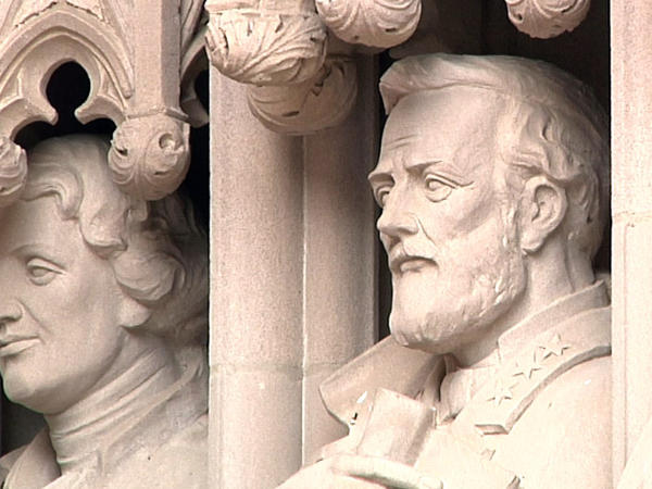 A photo of the statue taken in months before it was damaged and then removed, shows Confederate Gen. Robert E. Lee at the entrance to Duke Chapel in Durham, N.C.